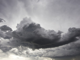 Underneath a Supercell Thunderstorm with Dark and Eerie Storm Clouds