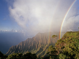 An Iridescent Double Rainbow Arcs over the Kalalau Valley