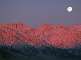 The Moon Sets at Sunrise over the Sierra Nevada and Mount Whitney