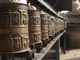 Prayer Wheels Near a Stupa in Kathmandu  Nepal