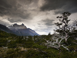 The Torres Del Paine Mountains on a Cloudy Day