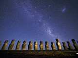 A Beautiful Night Sky Above Moai on Easter Island