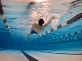 A Man Swimming the Back Stroke in an Indoor Swimming Pool