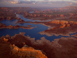 Scenic Aerial of Lake Powell and Rock Formations