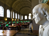 A Marble Bust of Benjamin Franklin at the Boston Public Library