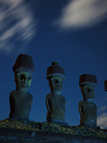 Restored Moai with Topknots on Akakena Beach