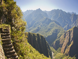 Steep Stairs on a Mountain Side on the Inca Trail at Machu Picchu