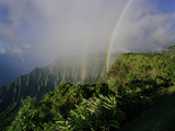 A Double Rainbow Arcs over the Lush Kalalau Valley