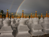 Rainbows Arc Above Chortens at a Buddhist Festival