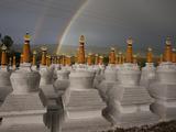 Rainbows Arc Above Chortens at a Buddhist Festival