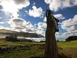 Restored Moai Stand Watch at Ahu Tongariki