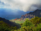 Rugged Coastline and Lush Valley from Kalalau Valley Overlook