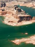 Aerial View of Distant Boats Navigating Lake Powell's Turns