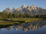 Reflections of the Teton Range in the Water at Schwabacher Landing