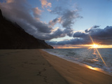 Sunset over Kalalau Beach in Na Pali Coast State Park