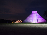 'The Castle' in Purple Light with the 'Temple of the Jaguars' Behind It