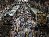 Crowds at the Churchgate Railway Station in Mumbai