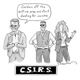 "Three investigators/IRS - two men  one woman - and title that says ""CSIRS"" - New Yorker Cartoon"