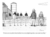 """It turns out crows find a bunch of dead crows more frightening than a man…"" - New Yorker Cartoon"