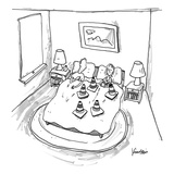 Man is blocked by woman's set of cones - New Yorker Cartoon