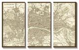 Sepia Map of London Tableau multi toiles