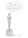 "An Oscar statue with breasts thinking ""This ought to bring in the young de… - New Yorker Cartoon"
