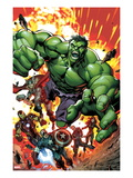 Avengers Assemble No2 Cover: Hulk  Thor  Iron Man  Captain America  Hawkeye  and Black Widow