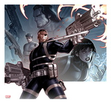Secret Warriors 24 Cover: Nick Fury Standing with a Gun