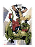 X-Men 10 Cover: Wolverine and Spider-Man Fighting while Falling