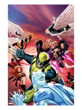 Uncanny X-Men 533 Cover: Wolverine  Psylocke  and Angel Fighting and Flying