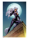 Ultimate Spider-Man 152 Cover: Black Cat Standing on a Rooftop at Night