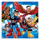 Marvel Super Hero Squad: Falcon  Wasp  Nick Fury  Thor  and Captain America Posing