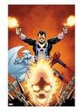 Shadowland 3 Cover: Ghost Rider  Moon Knight  Spider-Man  and Punisher Posing