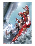 Avengers Annual 1 Cover: Iron Man and Wonder Man Fighting