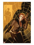 Black Widow 5 Cover: Black Widow Standing in Front of a Web with a Gun
