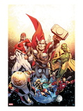 Secret Avengers 26 Cover: Thor  Captain Britain  Vision  Ms Marvel  and Beast Flying in Space