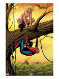 Marvel Adventures Spider-Man 13 Cover: Ka-Zar and Spider-Man Crouching Out on a Limb