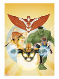 I Am an Avenger No3 Cover: Stingray  Firestar  Hulk  Nova  and Justice