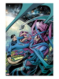 Fantastic Four No586 Cover: Mr Fantastic and Galactus Fighting