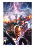 The Thanos Imperative 5 Cover: Nova  Quasar  Gladiator  and Silver Surfer Flying