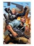 Secret Warriors 19 Cover: Steve Rogers and Nick Fury Fighting and Running