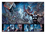 Ultimate New Ultimates 5: Panels with Thor Holding Mjonir  Screaming in a Storm