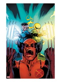 New Avengers No3 Cover: Wolverine  Dr Strange  and Iron Fist Screaming