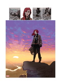Black Widow 5: Black Widow Standing on a Cliff in front of a Sunset