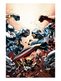 New Avengers 24 Cover: Cyclops  Captain America  and Wolverine Fighting