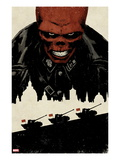 Red Skull No5 Cover: Portrait of Red Skull with Tanks and City Silhouette