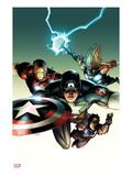 Ultimate Avengers vs New Ultimates 2 Cover: Captain America  Iron Man  Thor  and Hawkeye Flying