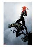 Widowmaker 2 Cover: Black Widow Holding Another By a Rope