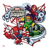 Marvel Super Hero Squad Badge: Spider-Man  Magneto  Doctor Octopus  and Dr Doom Posing