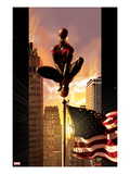 Ultimate Comics Spider-Man 7 Cover: Spider-Man Sitting on Top of a Flag Pole in the City